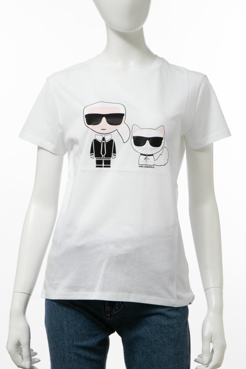 カールラガーフェルド KARL LAGERFELD Tシャツ 半袖 丸首 クルーネック レディース 96KW1717 ホワイト 送料無料 楽ギフ_包装 2019年秋冬新作