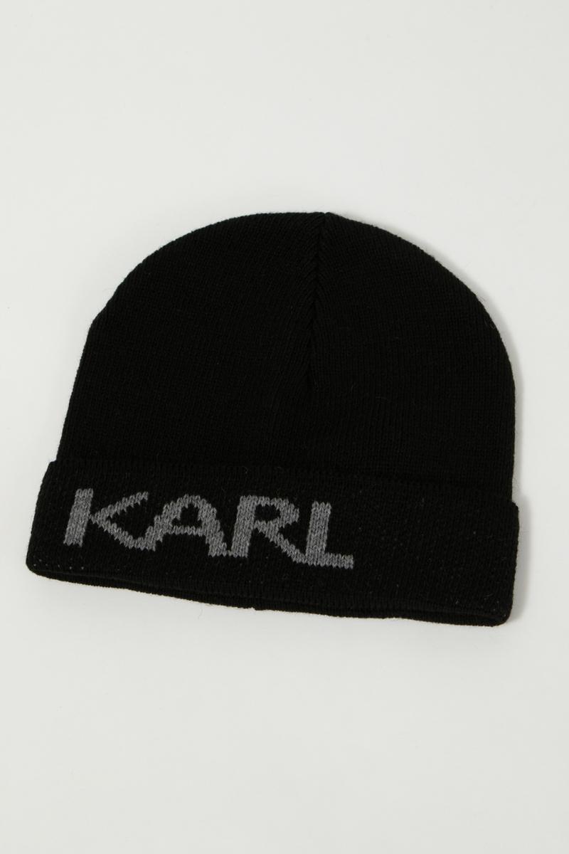カールラガーフェルド KARL LAGERFELD ニットキャップ ニット帽 ビーニー 805601 592322 ブラック 送料無料 楽ギフ_包装