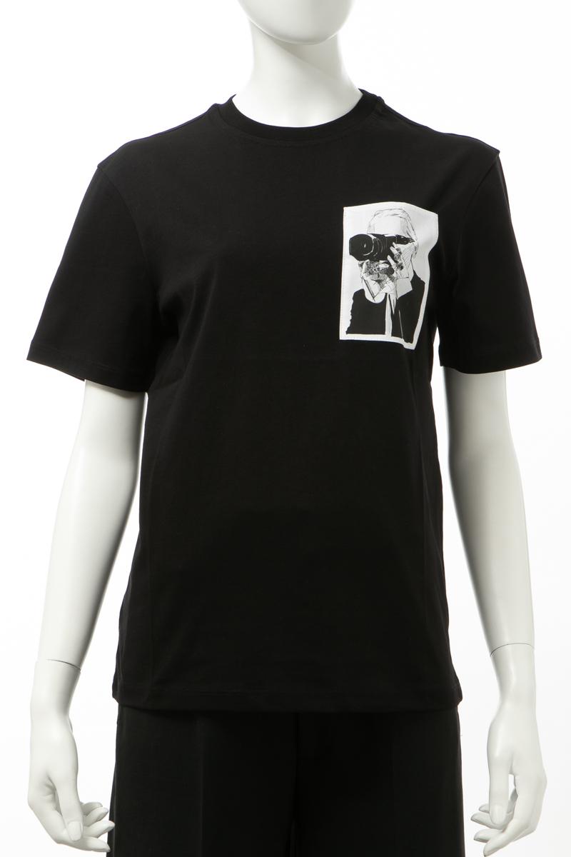 カールラガーフェルド KARL LAGERFELD Tシャツ 半袖 丸首 クルーネック レディース 200W1793 ブラック 送料無料 楽ギフ_包装 2020年春夏新作