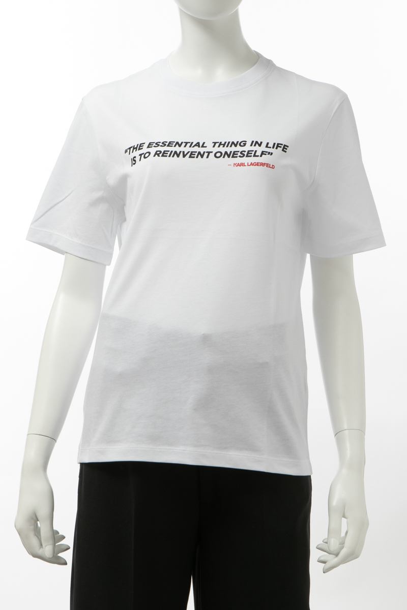 カールラガーフェルド KARL LAGERFELD Tシャツ 半袖 丸首 クルーネック レディース 200W1792 ホワイト 送料無料 楽ギフ_包装 2020年春夏新作