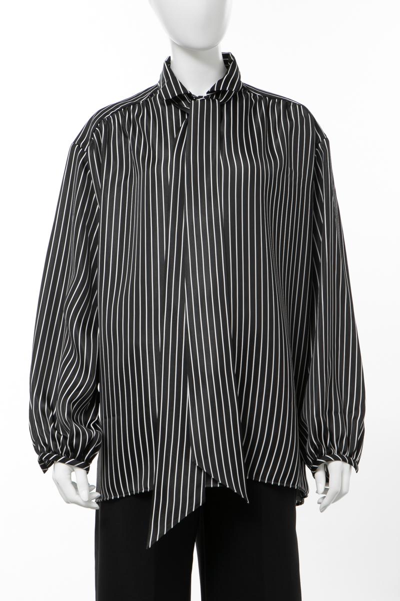 バレンシアガ BALENCIAGA シャツ 長袖 オーバーサイズ レディース 602014 TGO22 ブラック×ホワイト 送料無料 楽ギフ_包装 2020年春夏新作