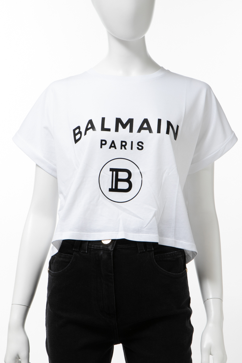 バルマン BALMAIN Tシャツ 半袖 丸首 クルーネック レディース TF11357 I381 ホワイト 送料無料 楽ギフ_包装 2020年春夏新作