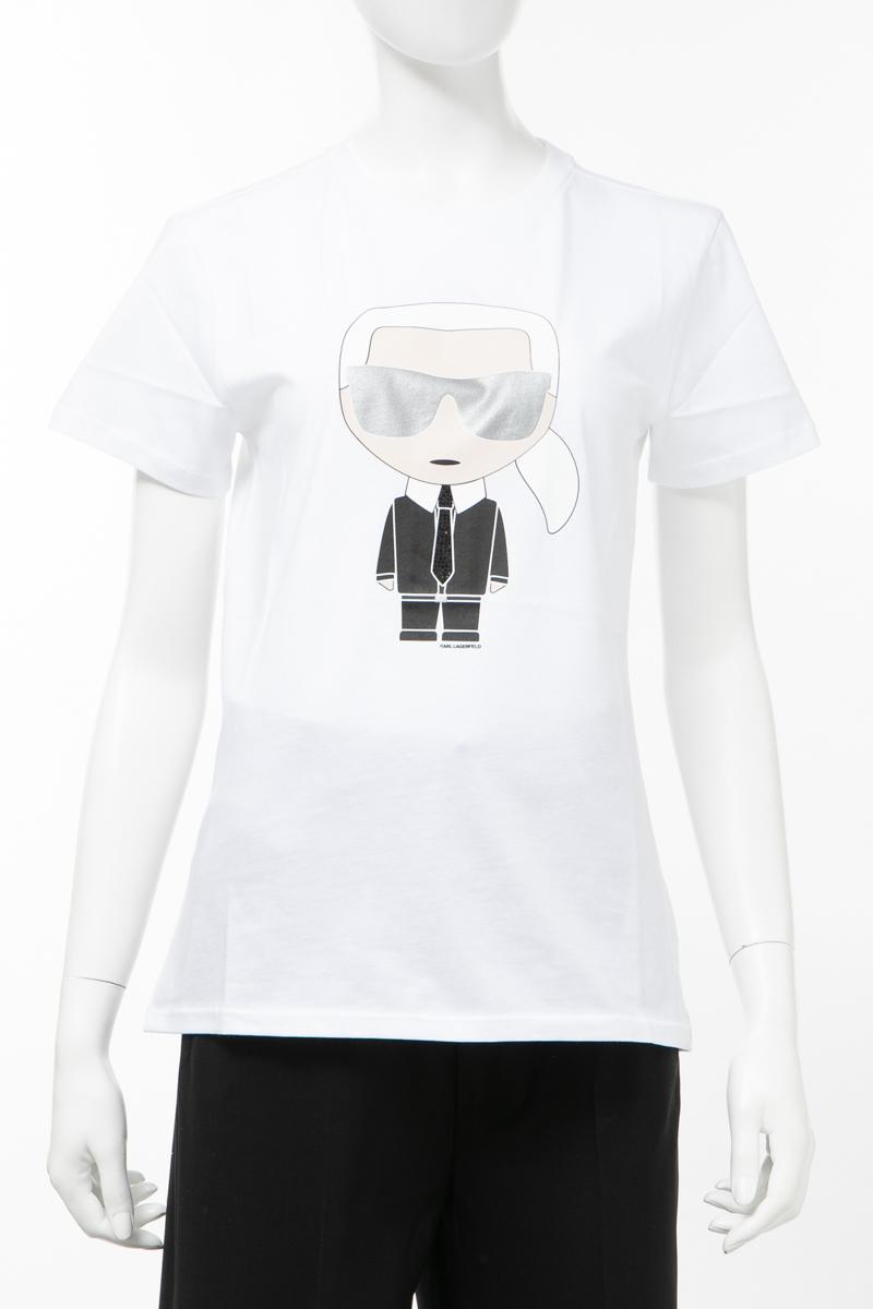 カールラガーフェルド KARL LAGERFELD Tシャツ 半袖 丸首 クルーネック レディース 201W1713 ホワイト 送料無料 楽ギフ_包装 2020年春夏新作