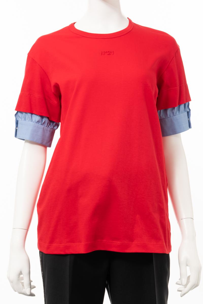 ヌメロヴェントゥーノ N°21 Tシャツ 半袖 丸首 クルーネック レディース F021 4157 201 レッド 送料無料 楽ギフ_包装