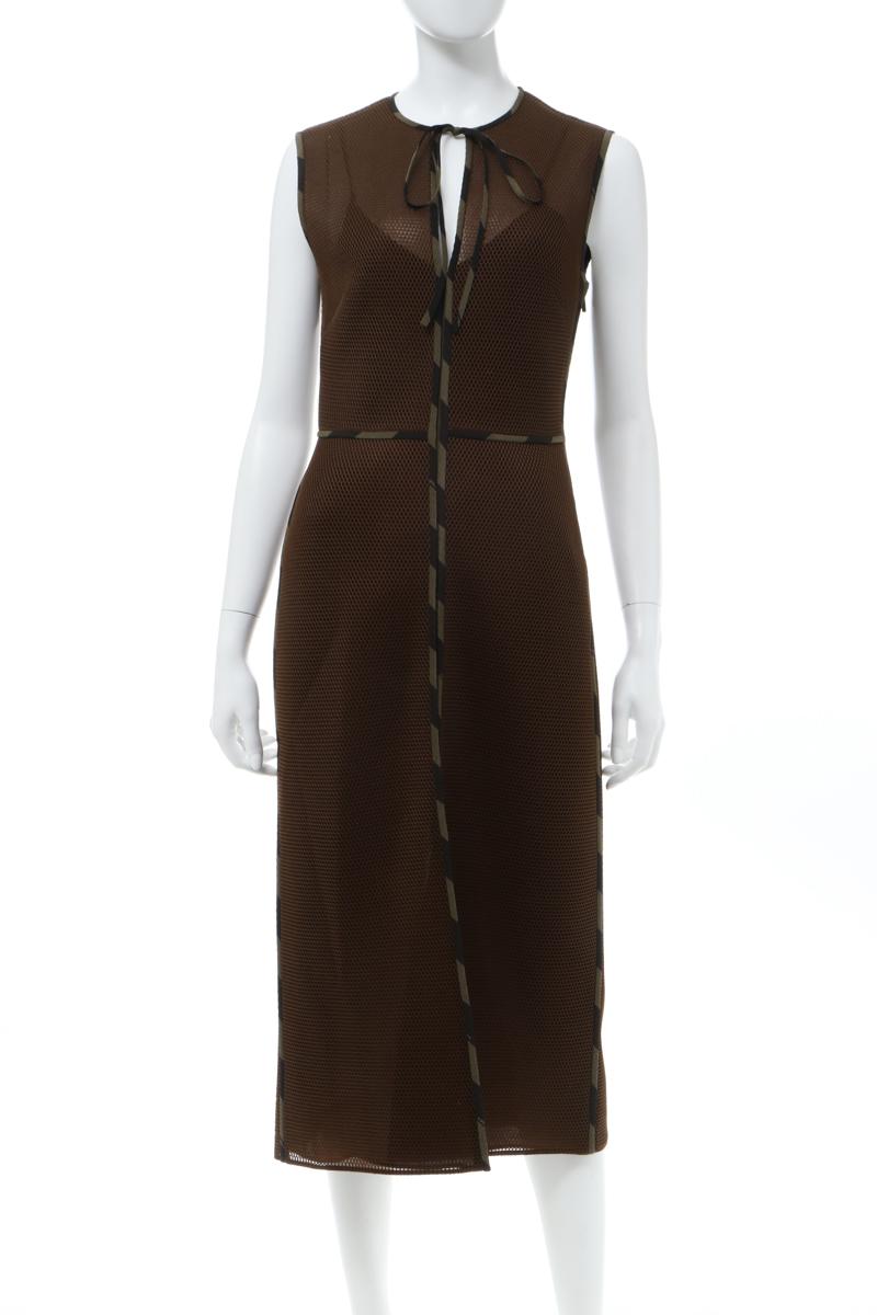 フェンディー FENDI ワンピース ドレス ノースリーブ レディース FDA742 A9FK ブラウン 送料無料 楽ギフ_包装 2020年春夏新作