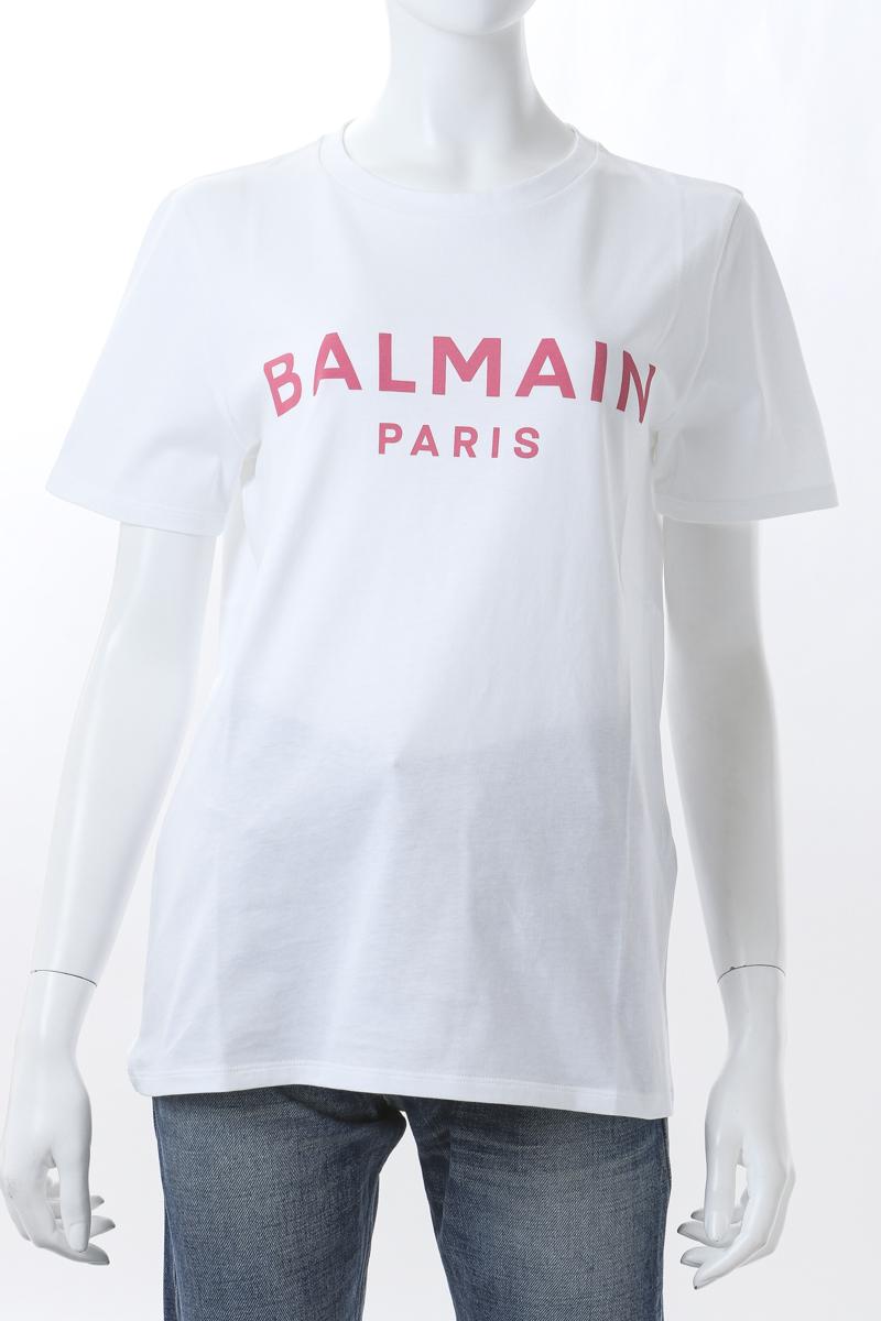 激安本物 バルマン BALMAIN Tシャツ 半袖 丸首 Tシャツ クルーネック レディース VF11350 B019 BALMAIN クルーネック ホワイト×ピンク 送料無料 2021年春夏新作, KOUBO:87d1b337 --- independentescortsdelhi.in