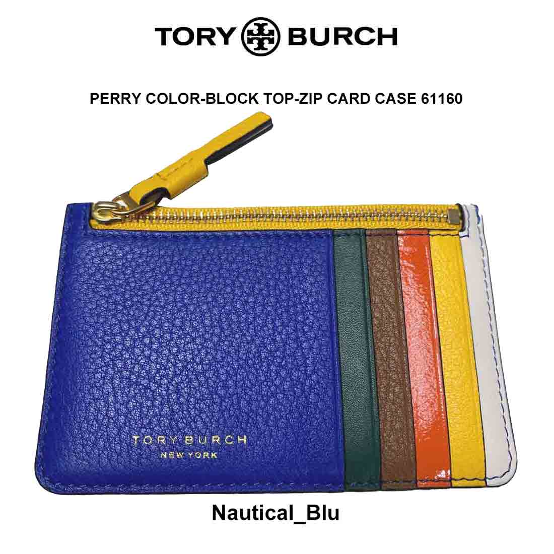 TORY BURCH(トリーバーチ)カードケース 定期入れ PERRY COLOR-BLOCK TOP-ZIP CARD CASE 61160