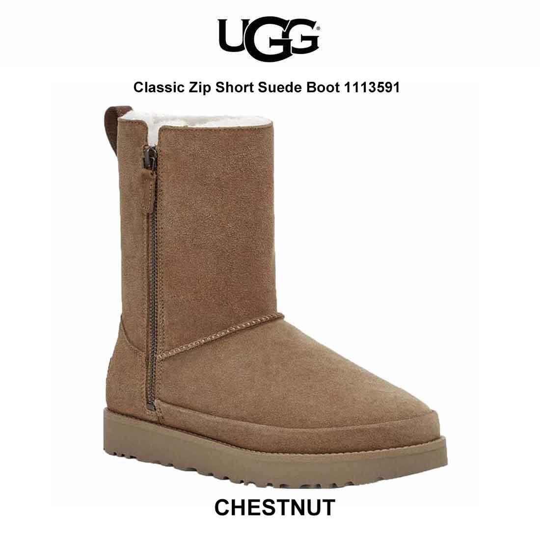 送料無料 並行輸入品 UGG(アグ)レディース ムートン ブーツ Classic Zip Short Suede Boot 1113591