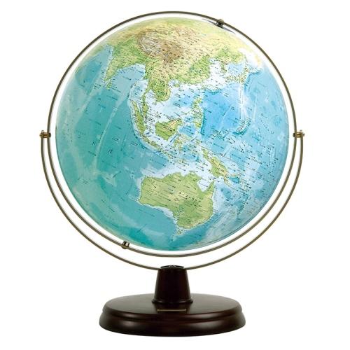 衛星地形地球儀WP木製台