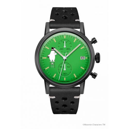 腕時計 メンズ レディース ムーミン ムーミンパパ UNDONE 送料無料 【SEIKOムーブメント搭載 クォーツ ケース ブラック 文字盤 グリーン ラリーブラック】