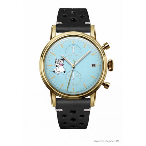 腕時計 メンズ レディース ムーミン リトルミイ2 UNDONE 送料無料 【SEIKOムーブメント搭載 クォーツ ケースゴールド 文字盤ブルー ラリーブラック】