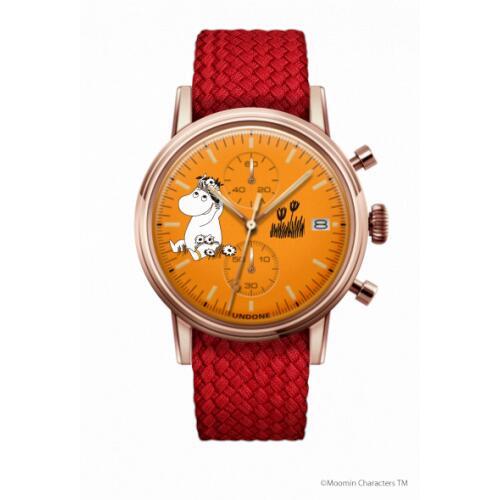 腕時計 メンズ レディース ムーミン スノークのおじょうさん UNDONE 送料無料 【SEIKOムーブメント搭載 クォーツ ケース ローズゴールド 文字盤 オレンジ パーロン レッド】
