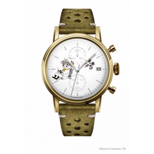 腕時計 メンズ レディース ムーミン スナフキン2 UNDONE 送料無料 【SEIKOムーブメント搭載 クォーツ ケース ゴールド 文字盤 ホワイト ラリー グリーン】