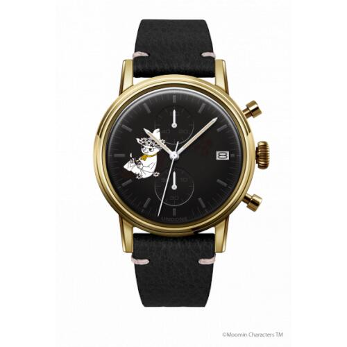 腕時計 メンズ レディース ムーミン スナフキン2 UNDONE 送料無料 【SEIKOムーブメント搭載 クォーツ ケース ゴールド 文字盤 ブラック キャビアブラック】
