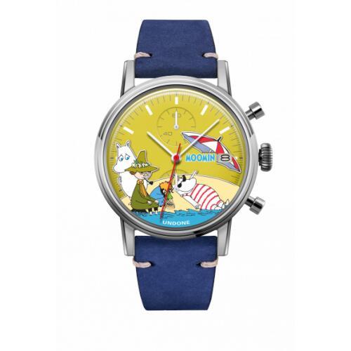 腕時計 メンズ レディース ムーミン Beach UNDONE X 送料無料 【SEIKOムーブメント搭載 クォーツ ケース シルバー カーフ ブルー】