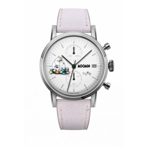 腕時計 メンズ レディース ムーミントロール&スノークのおじょうさん UNDONE X 送料無料 【SEIKOムーブメント搭載 クォーツ ケース シルバー コーデュラ ホワイト】