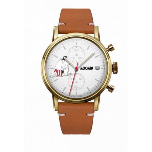 腕時計 メンズ レディース ムーミン パパ&ママ UNDONE X 送料無料 【SEIKOムーブメント搭載 クォーツ ケース ゴールド キャビア ブラウン】