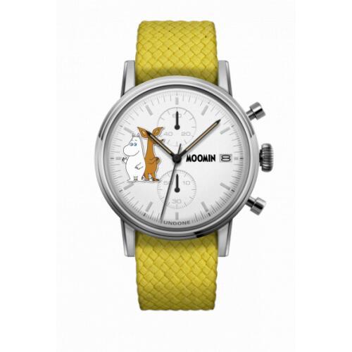 腕時計 メンズ レディース ムーミントロール&スニフ UNDONE X 送料無料 【SEIKOムーブメント搭載 クォーツ ケース シルバー パーロン イエロー】