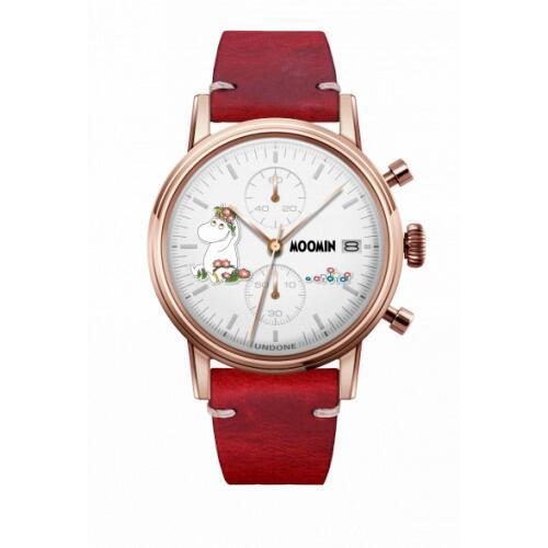腕時計 メンズ レディース ムーミン スノークのおじょうさん UNDONE X 送料無料 【SEIKOムーブメント搭載 クォーツ ケース ローズゴールド カーフ レッド】