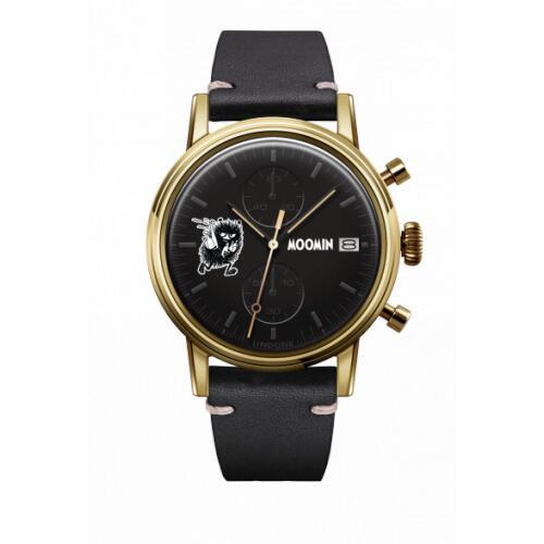 腕時計 メンズ レディース ムーミン スティンキー UNDONE X 送料無料 【SEIKOムーブメント搭載 クォーツ ケース ゴールド カーフ ブラック】