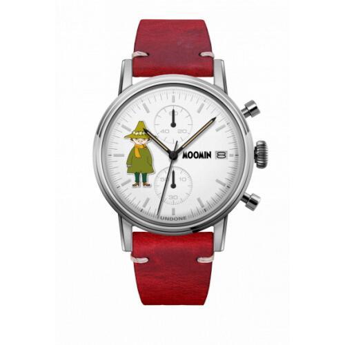 腕時計 メンズ レディース ムーミン スナフキン UNDONE X 送料無料 【SEIKOムーブメント搭載 クォーツ ケース シルバー カーフ レッド】