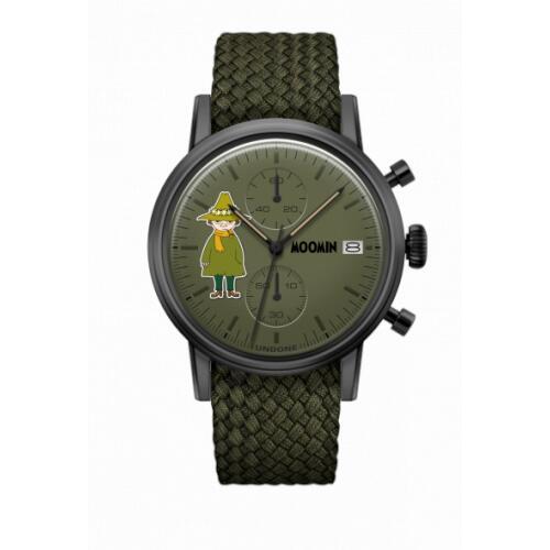 腕時計 メンズ レディース ムーミン スナフキン UNDONE X 送料無料 【SEIKOムーブメント搭載 クォーツ ケース ブラック パーロン オリーブグリーン】