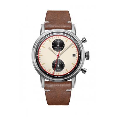 UNDONE URBAN NEWMANメカクォーツ 腕時計 【 ステンレス カーフレザー ブラウン】