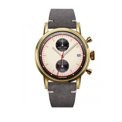 UNDONE URBAN NEWMANメカクォーツ 腕時計【ゴールドPVDコーティング カーフレザーベルト グレー】