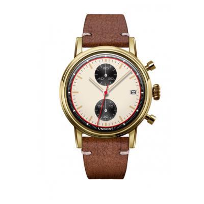 UNDONE URBAN NEWMANメカクォーツ 腕時計【ゴールドPVDコーティング カーフレザーベルト ラフブラウン】
