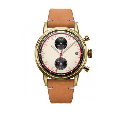 UNDONE URBAN NEWMANメカクォーツ 腕時計【ゴールドPVDコーティング カーフレザーベルト サンド】
