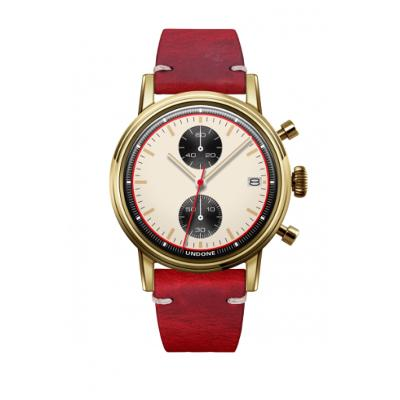 UNDONE URBAN NEWMANメカクォーツ 腕時計【ゴールドPVDコーティング カーフレザーベルト レッド】