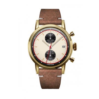 UNDONE URBAN NEWMANメカクォーツ 腕時計【ゴールドPVDコーティング カーフレザーベルト ヴィンテージブラウン】