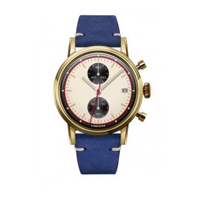 UNDONE URBAN NEWMANメカクォーツ 腕時計【ゴールドPVDコーティング カーフレザーベルト ブルー】