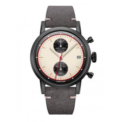 UNDONE URBAN NEWMANメカクォーツ 腕時計【ブラックPVDコーティング カーフレザーベルト グレー】