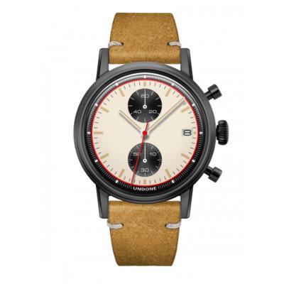 UNDONE URBAN NEWMANメカクォーツ 腕時計【ブラックPVDコーティング カーフレザーベルト ヴィンテージイエロー】