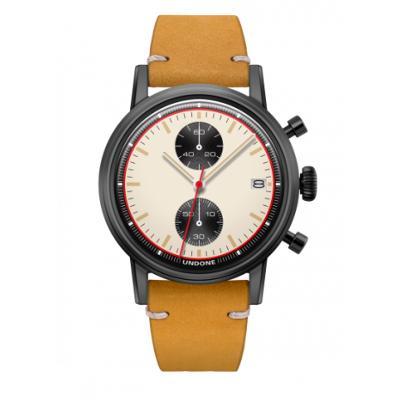 UNDONE URBAN NEWMANメカクォーツ 腕時計【ブラックPVDコーティング カーフレザーベルト イエロー】