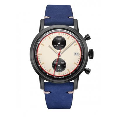 UNDONE URBAN NEWMANメカクォーツ 腕時計【ブラックPVDコーティング カーフレザーベルト ブルー】