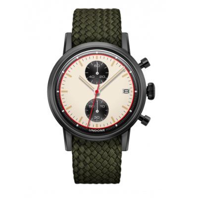 UNDONE URBAN NEWMAN メカクォーツ 腕時計【ブラックPVDコーティング パーロンベルト オリーブグリーン】