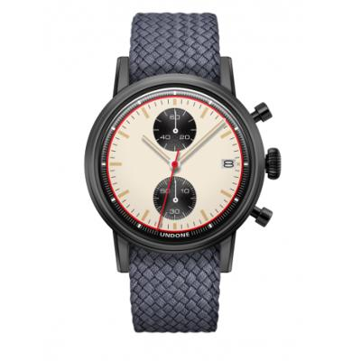 UNDONE URBAN NEWMANメカクォーツ 腕時計【ブラックPVDコーティング パーロンベルト グレー】