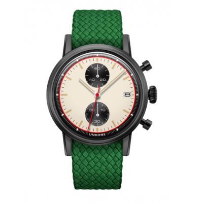 UNDONE URBAN NEWMAN メカクォーツ 腕時計【ブラックPVDコーティング パーロンベルト グリーン】