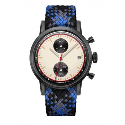 UNDONE URBAN NEWMAN メカクォーツ 腕時計【ブラックPVDコーティング パーロンベルト ブルー ブラック グレー】