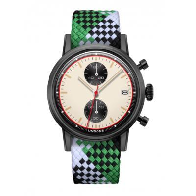 UNDONE URBAN NEWMAN メカクォーツ 腕時計【ブラックPVDコーティング パーロンベルト グリーン ブラック ホワイト】