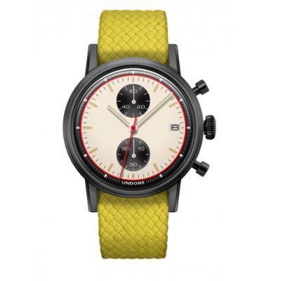 UNDONE URBAN NEWMAN メカクォーツ 腕時計【ブラックPVDコーティング パーロンベルト イエロー】
