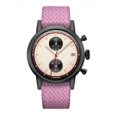 UNDONE URBAN NEWMAN メカクォーツ 腕時計【ブラックPVDコーティング パーロンベルト ピンク】