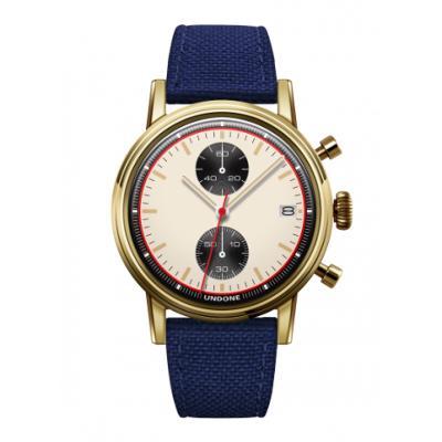 UNDONE URBAN NEWMAN メカクォーツ 腕時計【ゴールドPVDコーティング コーデュラ ネイビー】