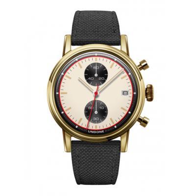 UNDONE URBAN NEWMAN メカクォーツ 腕時計【ゴールドPVDコーティング コーデュラ ブラック】