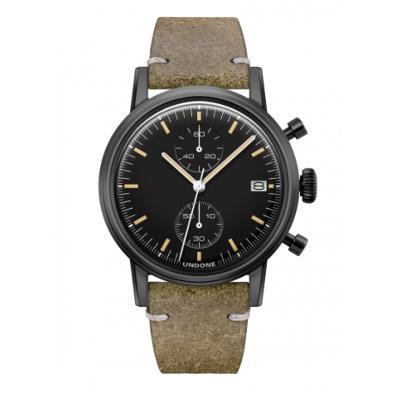 UNDONE URBAN SPEEDY メカクォーツ 腕時計 【 ブラック PVDコーティング カーフレザーベルト ヴィンテージグリーーン】