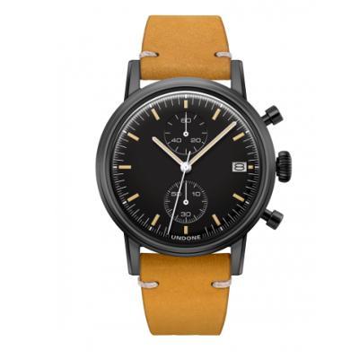UNDONE URBAN SPEEDY メカクォーツ 腕時計 【 ブラック PVDコーティング カーフレザーベルト イエロー】