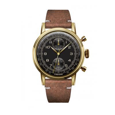 UNDONE URBAN NAVI メカクォーツ 腕時計 【ゴールド PVD コーティング カーフベルト ヴィンテージブラウン】