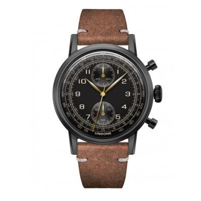 UNDONE URBAN NAVI  腕時計【ブラックPVDコーティング カーフレザーベルト ヴィンテージブラウン】